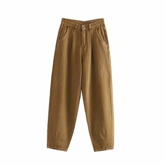 Tznzbgy Women Boyfriends Style Loose Casual Harem Pants Female Ankle Length Denim Pants Purple M