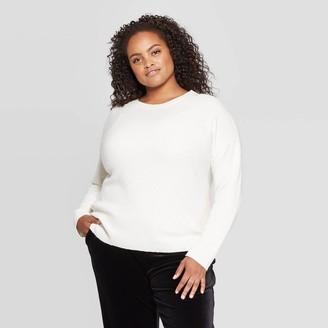 Ava & Viv Women's Plus Size Crewneck Directional Pullover Sweater - Ava & VivTM