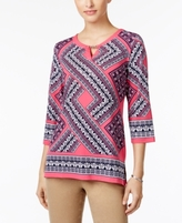 JM Collection Petite Embellished Printed Keyhole Tunic, Created for Macy's