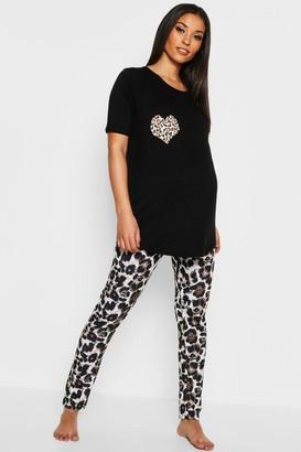 boohoo Maternity Leopard Heart PJ Set