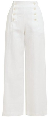 ODYSSEE Sol Buttoned Wide-leg Trousers - White
