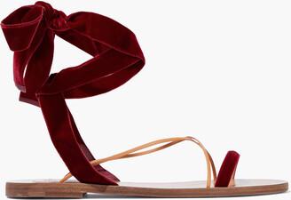 Valentino Lace-up Leather-trimmed Velvet Sandals