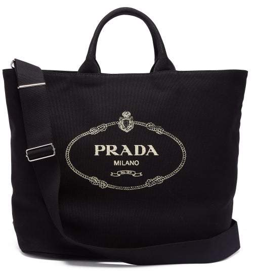 premium selection fb6a0 66a96 Prada Canvas Tote Bag - ShopStyle