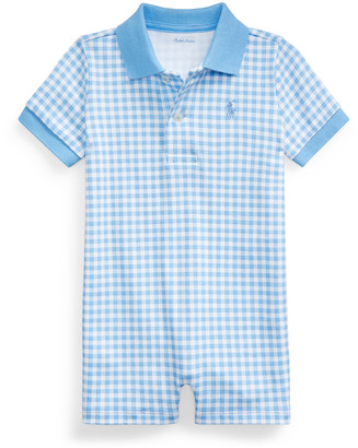 Ralph Lauren Kids Gingham Printed Polo Shortall, Size 3-18 Months