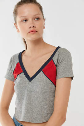 Out From Under Vana Colorblock V-Neck Cropped Tee