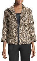 Lafayette 148 New York Vanna Leopard-Print Jacket, Black/Multi, Plus Size