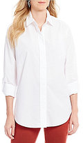 NYDJ Roll-Tab Sleeve Solid Button Front Shirt