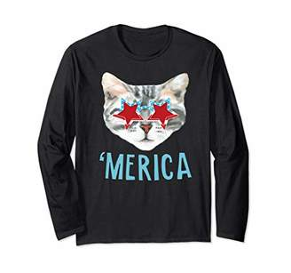 4th of July Shirts Funny Cat 'Merica Cute America Cat Lover Long Sleeve T-Shirt