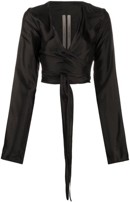 Rick Owens Cropped Long-Sleeve Blouse