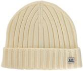 C.p. Company Ivory Ribbed Wool Beanie