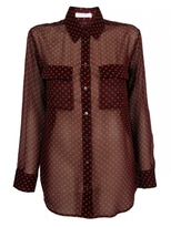 Signature Sheer Angelica Hearts Blouse | Wine