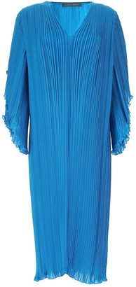 Alberta Ferretti V-Neck Pleated Dress