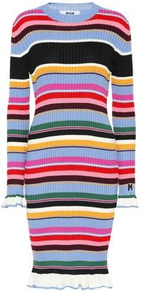 MSGM Striped wool-blend midi dress