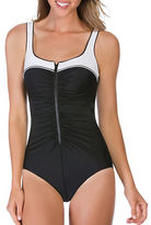 Reebok Two-Tone Ruched One Piece Bodysuit