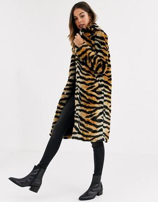 Brave Soul arctic long lenth faux fur coat-Tan
