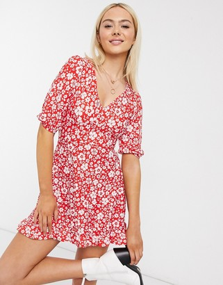 Miss Selfridge fit & flare mini dress in red floral