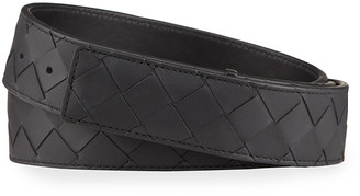 Bottega Veneta Men's Intrecciato Leather Belt with Concealed Buckle