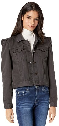 Blank NYC Cropped Trucker Jacket w/ Puff Sleeves (Sticks and Stones) Women's Jacket