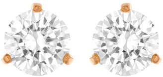 Swarovski Solitaire Pierced Earrings - White - Rose-gold Tone