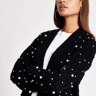 River Island Womens Black pearl embellished cable knit cardigan