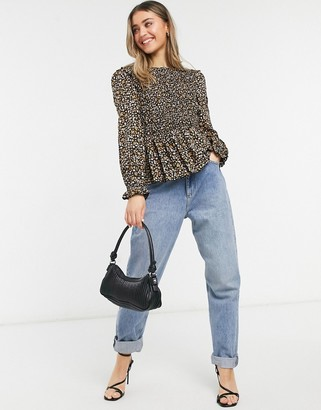 New Look shirred long sleeve blouse in black ditsy floral