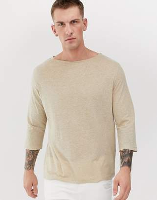Asos Design DESIGN relaxed t-shirt with 3/4 sleeve and boat neck in linen mix-Beige