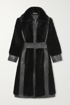 Stella McCartney Belen Belted Laser-cut Vegetarian Leather And Faux Fur Coat - Black