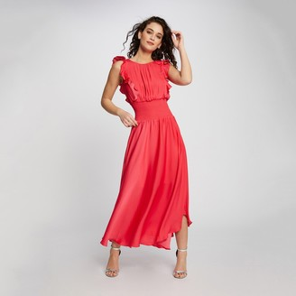 Morgan Rwendy Ruffled Maxi Dress with Low Back