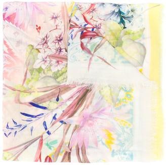Etro Floral-Print Wool Scarf