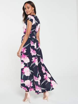 AX Paris Floral Dip Hem Dress - Navy