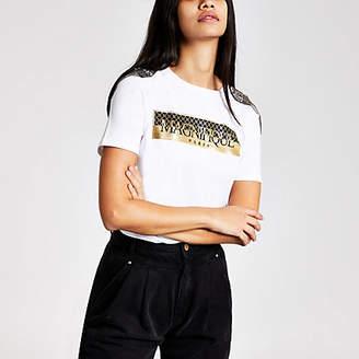 River Island White print shoulder embellished T-shirt