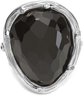 Michael Aram Enchanted Forest Silver 0.03 Ct. Tw. Diamond & Black Onyx Ring