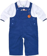 Florence Eiseman Corduroy Sports Overalls w/ Jersey Polo, Blue, Size 6-24 Months