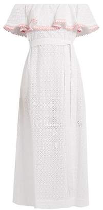 Lisa Marie Fernandez Mira Ruffle-trimmed Broderie-anglaise Cotton Dress - Womens - White Multi