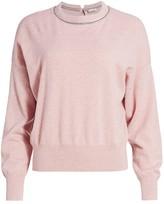 Brunello Cucinelli Monili-Trim Cashmere Knit Crewneck Sweater