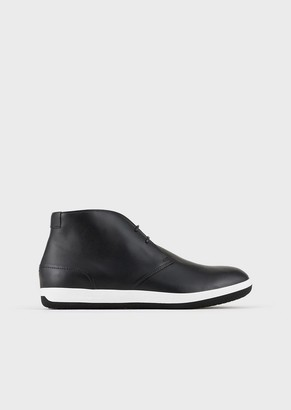 Emporio Armani Leather Chukka Boots With Rubber Soles