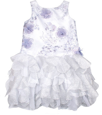 Biscotti Girls' Special Occasion Dresses BLUE - Blue Floral Embroidered Lace Ruffle Sleeveless Dress - Toddler & Girls