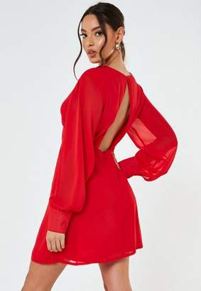 Missguided Red Key Hole Back Skater Dress