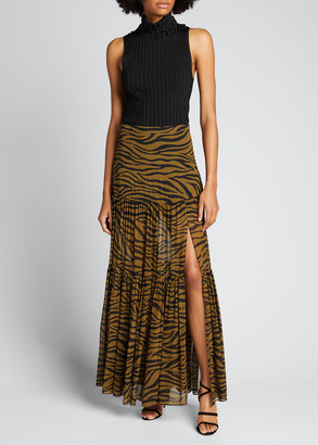 Veronica Beard Serence Tiger Stripes Tiered Skirt