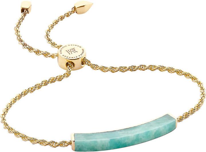 Monica Vinader Linear 18ct gold-plated amazonite bracelet