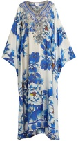 Camilla Ring of Roses-print silk kaftan
