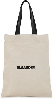 Jil Sander Grande Flat Canvas Tote Bag