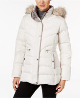 Larry Levine Faux-Fur-Trim Hooded Down Coat