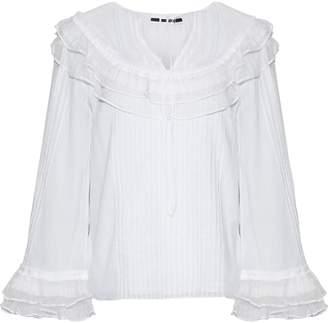 McQ Point D'esprit-paneled Ruffle-trimmed Cotton-voile Blouse