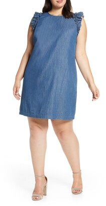CeCe Flutter Sleeve Denim Shift Dress