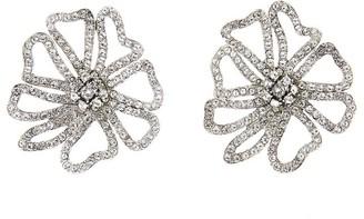Oscar de la Renta Pave Flower Earrings