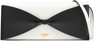 Moschino Bow-embellished Two-tone Leather Clutch