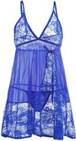 Vilania Women Sexy Lingerie Diaphanous Pajamas Halter Lace Splicing Mesh Erotic Sleepwear Babydoll And Chemise Underwear With G-string ,TXZ-CA9038-2XL