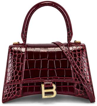 Balenciaga Small Hourglass Top Handle Bag in Dark Red | FWRD