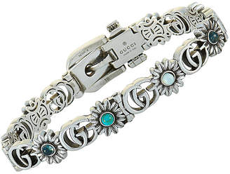 Gucci Gg Marmont Silver Topaz And Mother Of Pearl Double G Motif Size 16 Bracelet